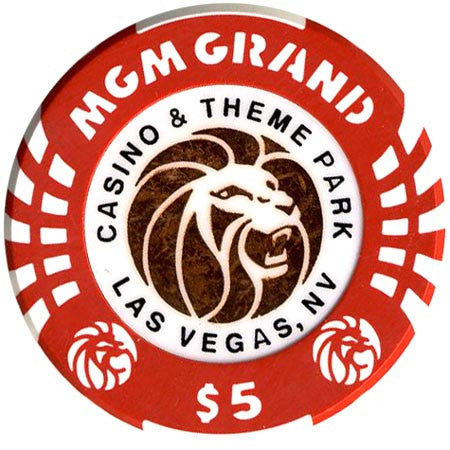 MGM Grand Casino $5 (red/copper) chip