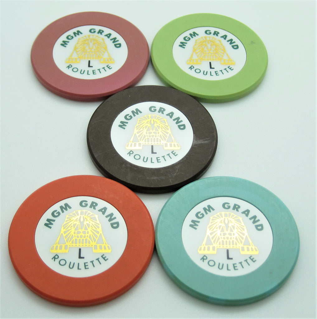 Set of 5 MGM Grand Roulette Casino Chips Las Vegas 1993
