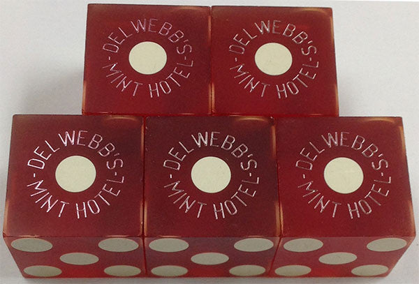 Del Webb's Mint Used Red Casino Dice, Stick of 5