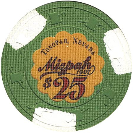 Mizpah $25 green (3-white inserts) chip - Spinettis Gaming - 1