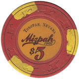 Mizpah Hotel $5 red (3-yellow inserts) chip - Spinettis Gaming - 2