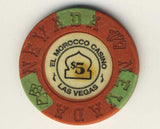 El Morocco $5 (orange 1972) Chip - Spinettis Gaming - 1
