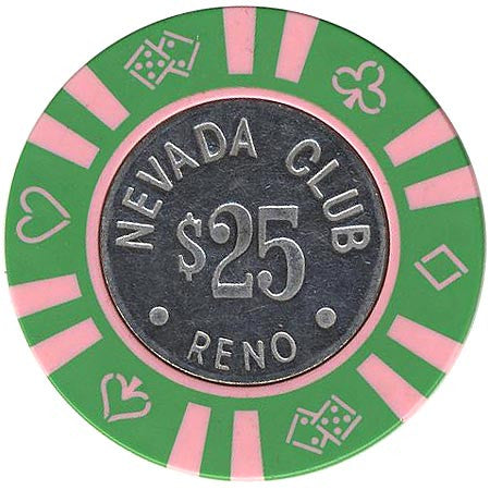 Nevada Club $25 green (pink-inserts) chip