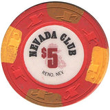 Nevada Club Reno $5 red (2-brown/orange inserts) chip - Spinettis Gaming - 1