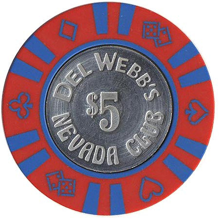 Del Webb's Nevada Club $5 (red/w blue inserts) chip - Spinettis Gaming - 2