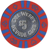 Del Webb's Nevada Club $5 (red/w blue inserts) chip - Spinettis Gaming - 1