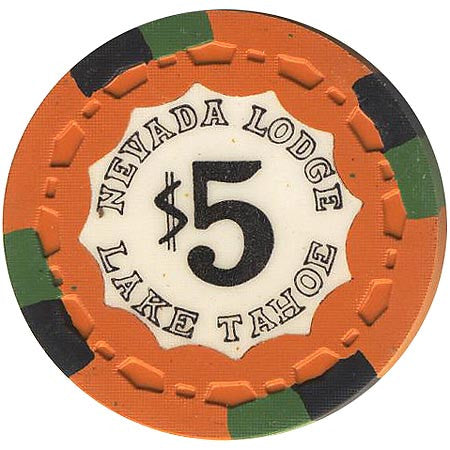 Nevada Lodge $5 orange (black/green inserts) chip