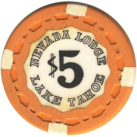Nevada Lodge $5 orange (4-white inserts) chip