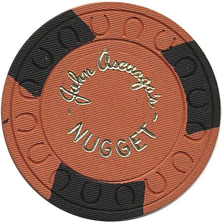 Nugget (John Ascuaga) Casino Sparks NV Orange with Black Roulette Chip 1970s