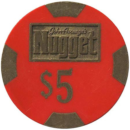 Nugget $5 (John Ascuaga) (red) chip