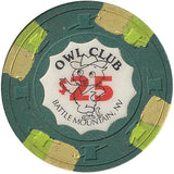 Owl Club $25 (green) chip - Spinettis Gaming - 1