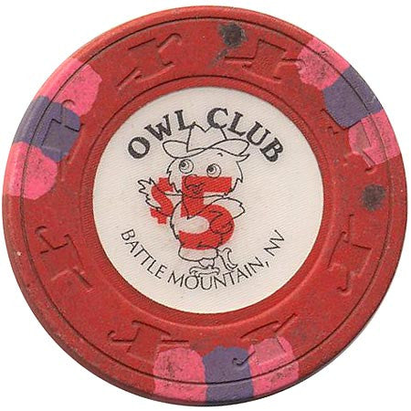 Owl Club $5 (red) chip - Spinettis Gaming - 1