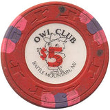 Owl Club $5 (red) chip - Spinettis Gaming - 2