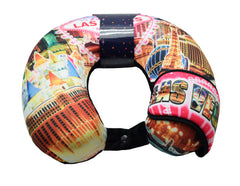 Las Vegas Theme Travel Neck Pillow With Memory Foam and Eye Mask