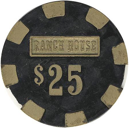 Ranch House $25 (black) chip - Spinettis Gaming - 1