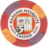 Rancho Mesquite Casino $5 (red) chip - Spinettis Gaming - 1