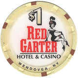 Red Garter $1 (beige) chip - Spinettis Gaming - 1