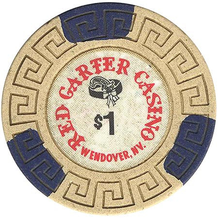 Red Garter $1 beige (3-blue inserts) chip - Spinettis Gaming - 1