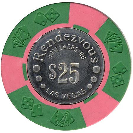 Rendezvous Casino $25 (green/pink) chip - Spinettis Gaming - 1