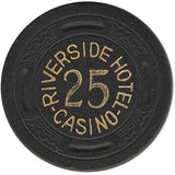 Riverside Casino 25 (black) chip - Spinettis Gaming - 1