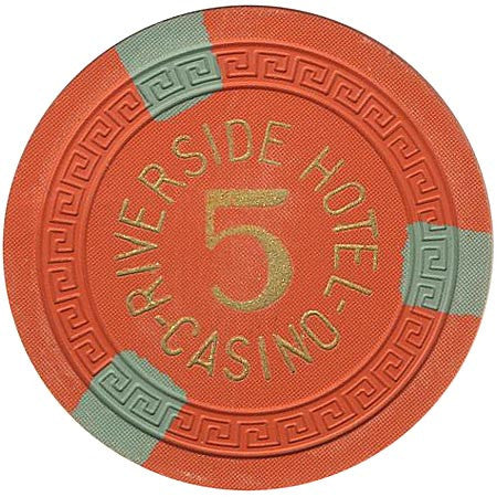 Riverside Casino 5 orange (3-olive inserts) chip - Spinettis Gaming
