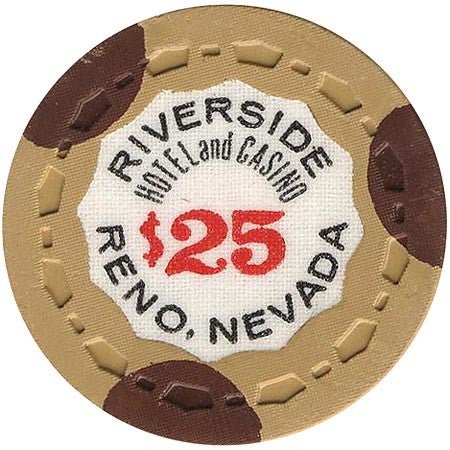 Riverside Hotel and Casino Reno $25 (beige/brown) chip - Spinettis Gaming