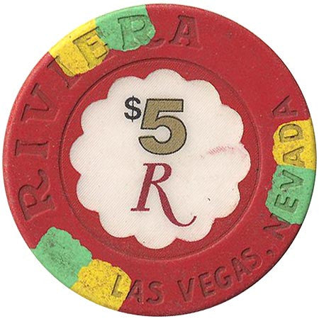 Riviera Casino $5 (red) (House Mold) chip