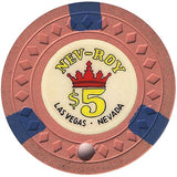 Royal Nevada Hotel $5 (salmon) canceled chip - Spinettis Gaming - 1