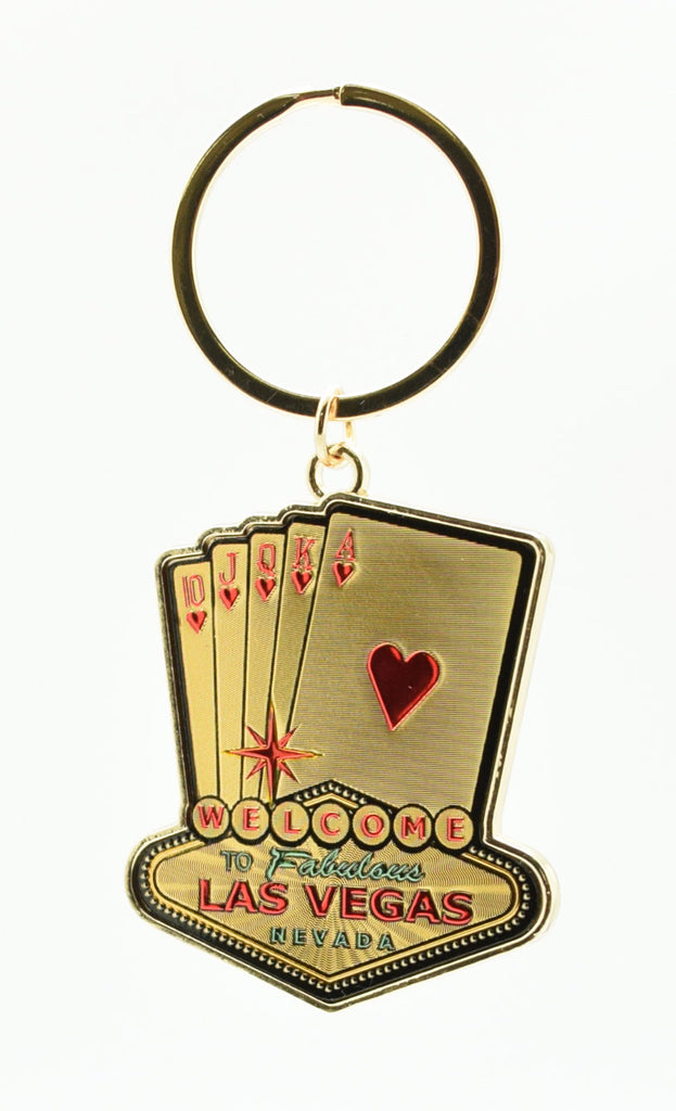 Key Chain - Las Vegas Sign With Royal Flush Gold Laser Foil