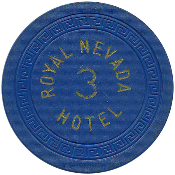 Royal Nevada Hotel 3 Roulette Chip (Blue)