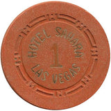 Hotel Sahara Las Vegas 1 Roulette (orange) chip - Spinettis Gaming