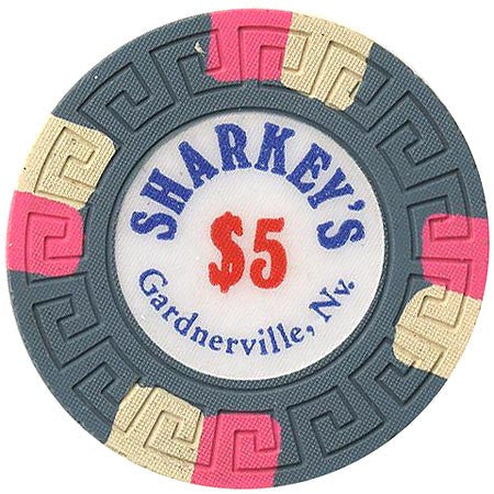 Sharkey's $5 (green) (4 pink, 4 white inserts) chip - Spinettis Gaming - 1