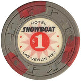 Showboat $1 (gray with 3 red inserts) chip - Spinettis Gaming - 2