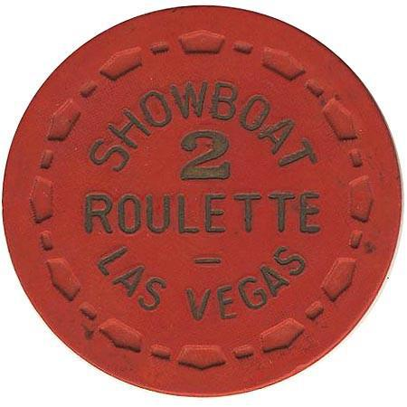 Showboat Casino Las Vegas NV Red 2 Roulette Chip 1970s