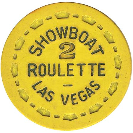Showboat Casino Las Vegas NV Yellow 2 Roulette Chip 1970s