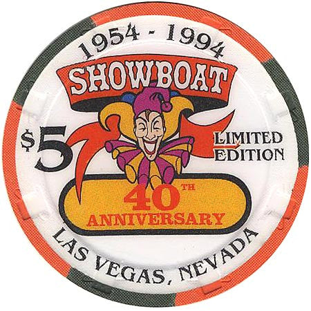 Showboat Casino Las Vegas NV 40th Anniversary $5 Chip 1994