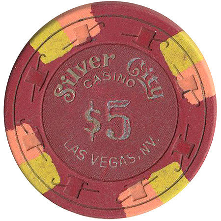 Silver City $5 (red) chip - Spinettis Gaming - 1