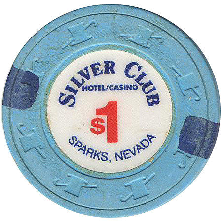 Silver Club $1 (blue) chip
