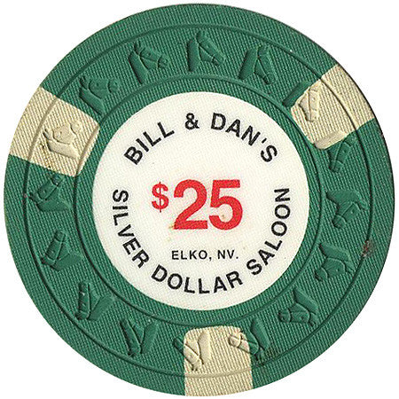 Silver Dollar Saloon $25 green (3 white inserts) chip - Spinettis Gaming - 1