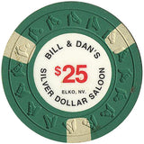 Silver Dollar Saloon $25 green (3 white inserts) chip - Spinettis Gaming - 2