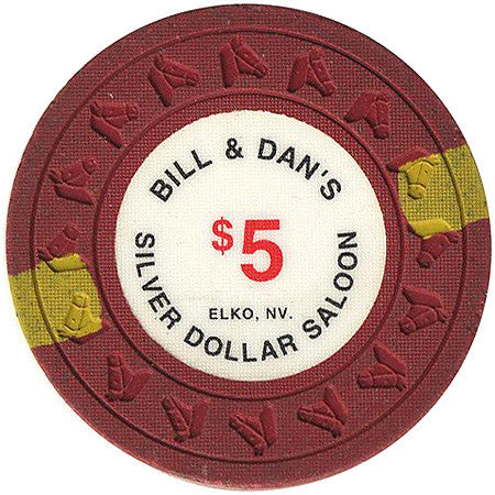 Silver Dollar Saloon (Bill & Dan's) $5 (red) chip - Spinettis Gaming - 1
