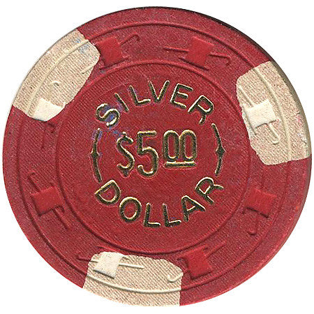 Silver Dollar $5 (red with 3 white inserts) chip - Spinettis Gaming - 1