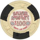 Silver Nugget $100 (beige) chip - Spinettis Gaming - 1