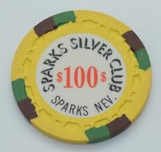 Sparks Silver Club Casino $100 Chip 1972