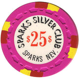 Silver Club $25 (pink) chip - Spinettis Gaming - 1