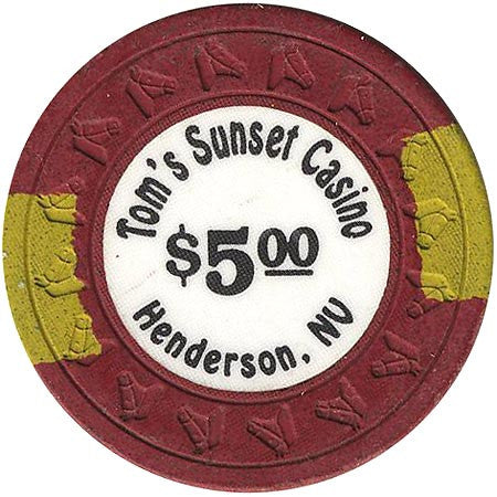 Tom's Sunset Casino $5 (burgundy) chip