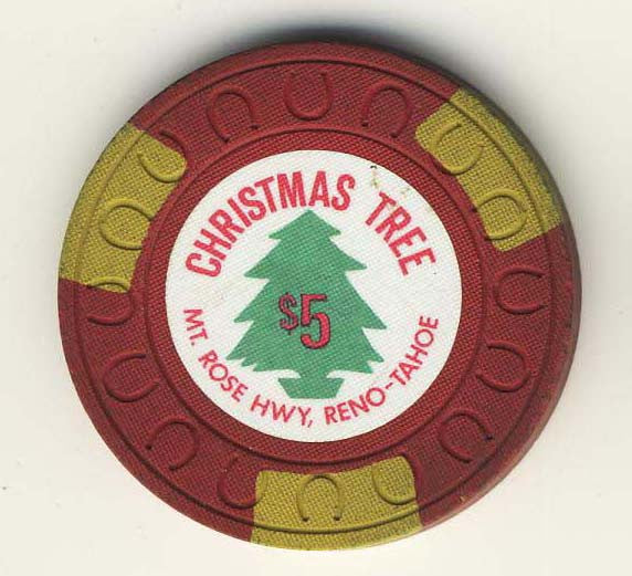 Christmas Tree $5 (red 1957) Chip - Spinettis Gaming - 2