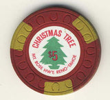Christmas Tree $5 (red 1957) Chip - Spinettis Gaming - 1