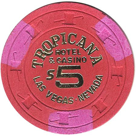 Tropicana $5 red (3-magenta inserts) chip - Spinettis Gaming