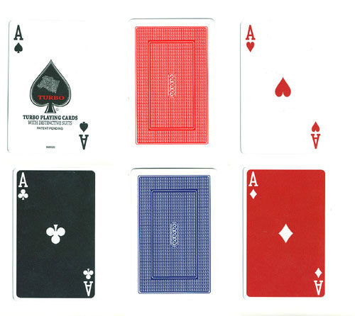 100% Plastic Playing Cards Turbo Deck Setup Red & Blue - Spinettis Gaming - 4